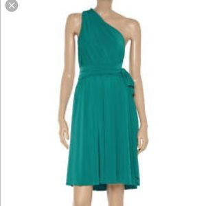 Halston Heritage teal wrap dress size 2